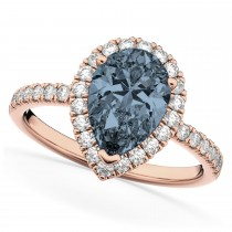 Pear Cut Halo Gray Spinel & Diamond Engagement Ring 14K Rose Gold 2.21ct