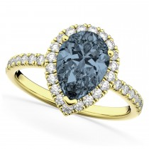 Pear Cut Halo Gray Spinel & Diamond Engagement Ring 14K Yellow Gold 2.21ct