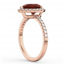 Pear Cut Halo Garnet & Diamond Engagement Ring 14K Rose Gold 2.31ct