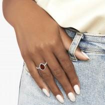 Pear Cut Halo Garnet & Diamond Engagement Ring 14K White Gold 2.31ct