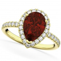 Pear Cut Halo Garnet & Diamond Engagement Ring 14K Yellow Gold 2.31ct