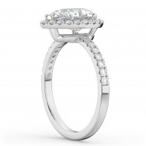 Pear Cut Halo Lab Grown Diamond Engagement Ring 14K White Gold (2.51ct)
