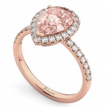 Pear Cut Halo Morganite & Diamond Engagement Ring 14K Rose Gold 2.51ct