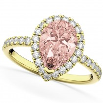 Pear Cut Halo Morganite & Diamond Engagement Ring 14K Yellow Gold 2.51ct