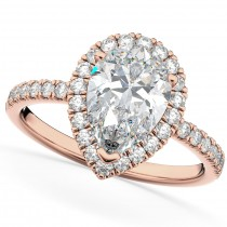 Pear Cut Halo Moissanite & Diamond Engagement Ring 14K Rose Gold 2.44ct