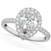 Pear Cut Halo Moissanite & Diamond Engagement Ring 14K White Gold 2.44ct