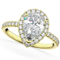 Pear Cut Halo Moissanite & Diamond Engagement Ring 14K Yellow Gold 2.44ct