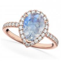 Pear Cut Halo Moonstone & Diamond Engagement Ring 14K Rose Gold 2.51ct