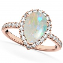 Pear Cut Halo Opal & Diamond Engagement Ring 14K Rose Gold 1.54ct