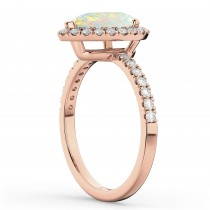 Pear Cut Halo Opal & Diamond Engagement Ring 14K Rose Gold 1.54ct|escape