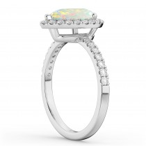 Pear Cut Halo Opal & Diamond Engagement Ring 14K White Gold 1.54ct