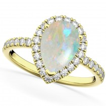 Pear Cut Halo Opal & Diamond Engagement Ring 14K Yellow Gold 1.54ct