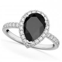 Pear Cut Halo Black Onyx & Diamond Engagement Ring 14K White Gold 2.21ct