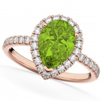 Pear Cut Halo Peridot & Diamond Engagement Ring 14K Rose Gold 1.91ct
