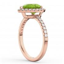 Pear Cut Halo Peridot & Diamond Engagement Ring 14K Rose Gold 1.91ct
