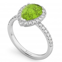 Pear Cut Halo Peridot & Diamond Engagement Ring 14K White Gold 1.91ct
