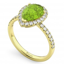 Pear Cut Halo Peridot & Diamond Engagement Ring 14K Yellow Gold 1.91ct
