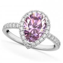 Pear Cut Halo Pink Moissanite & Diamond Engagement Ring 14K White Gold 2.44ct