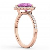 Pear Cut Halo Pink Sapphire & Diamond Engagement Ring 14K Rose Gold 3.01ct