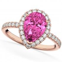 Pear Cut Halo Pink Tourmaline & Diamond Engagement Ring 14K Rose Gold 1.91ct