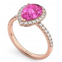 Pear Cut Halo Pink Tourmaline & Diamond Engagement Ring 14K Rose Gold 1.91ct