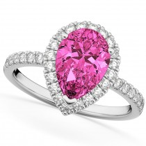 Pear Cut Halo Pink Tourmaline & Diamond Engagement Ring 14K White Gold 1.91ct