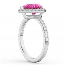 Pear Cut Halo Pink Tourmaline & Diamond Engagement Ring 14K White Gold 1.91ct