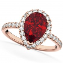 Pear Cut Halo Ruby & Diamond Engagement Ring 14K Rose Gold 3.01ct