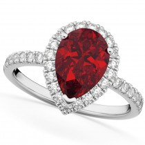 Pear Cut Halo Ruby & Diamond Engagement Ring 14K White Gold 3.01ct
