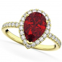 Pear Cut Halo Ruby & Diamond Engagement Ring 14K Yellow Gold 3.01ct