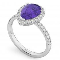 Pear Cut Halo Tanzanite & Diamond Engagement Ring 14K White Gold 1.54ct
