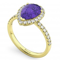 Pear Cut Halo Tanzanite & Diamond Engagement Ring 14K Yellow Gold 1.54ct