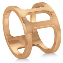 Double Bar Ring Plain Metal Abstract Design 14k Rose Gold