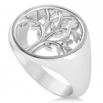 Family Tree of Life Ladies Signet Ring 14k White Gold