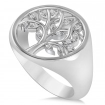 Family Tree of Life Diamond Signet Ring 14k White Gold (0.08ct)