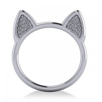 Diamond Cat Ears Fashion Ring 14k White Gold (0.22ct)