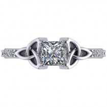 Princess Diamond Celtic Knot Engagement Ring 14K White Gold (0.75ct)