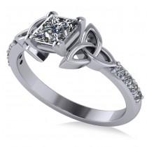 Princess Cut Diamond Celtic Knot Engagement Ring 18k White Gold 0.75ct