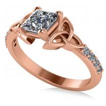 Princess Cut Diamond Celtic Knot Engagement Ring 14K Rose Gold 1.00ct