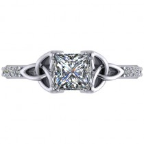 Princess Diamond Celtic Knot Engagement Ring 14K White Gold (1.00ct)