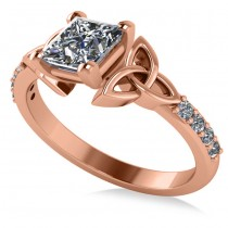 Princess Cut Diamond Celtic Knot Engagement Ring 14K Rose Gold 1.50ct