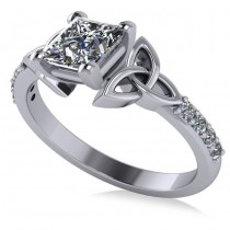 Princess Cut Diamond Celtic Knot Engagement Ring  Platinum 1.50ct