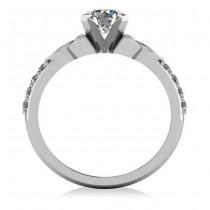 Round Diamond Celtic Knot Engagement Ring 14K White Gold (0.75ct)