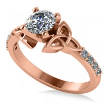 Round Diamond Celtic Knot Engagement Ring 18k Rose Gold 0.75ct