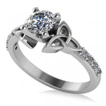 Round Diamond Celtic Knot Engagement Ring 18k White Gold 0.75ct