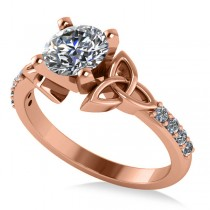 Round Diamond Celtic Knot Engagement Ring 14K Rose Gold 1.00ct