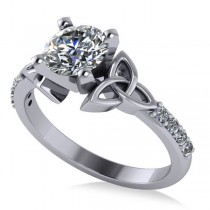 Round Diamond Celtic Knot Engagement Ring 18k White Gold 1.00ct