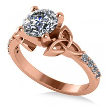 Round Diamond Celtic Knot Engagement Ring 18k Rose Gold 1.50ct