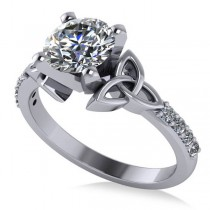 Round Diamond Celtic Knot Engagement Ring 18k White Gold 1.50ct
