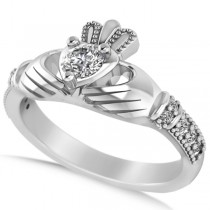 Diamond Claddagh Engagement Ring in 14k White Gold (0.42ct)